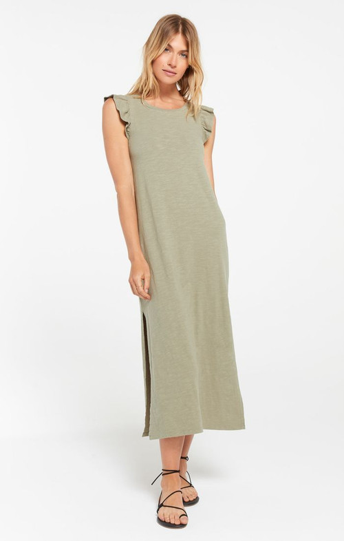 Z SUPPLY BLAKELY RUFFLE MIDI DRESS IN MEADOW GREEN