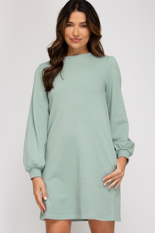 WESLEY FRENCH TERRY DRESS IN SEAFOAM