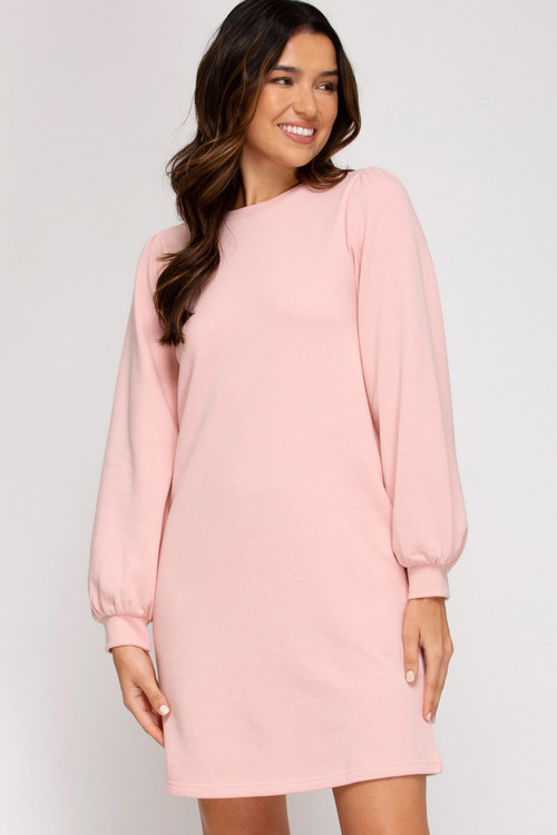 WESLEY FRENCH TERRY DRESS IN ROSE
