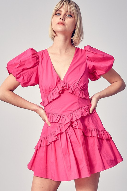 IRIS TIERED DRESS IN HOT PINK