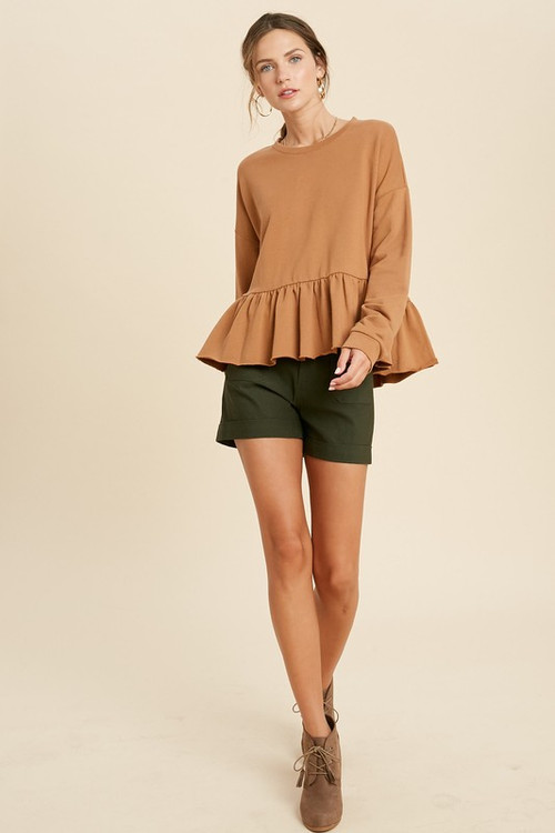 BENNY PEPLUM SWEATSHIRT IN HEATHER GUCCI