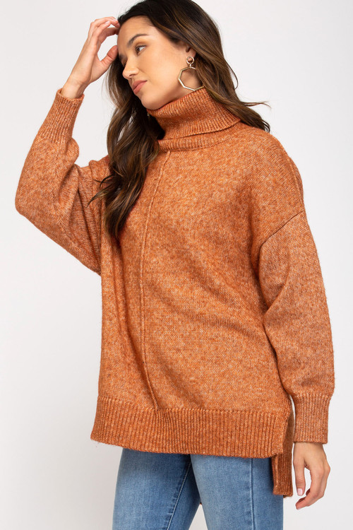 LARSON KNIT TUNIC IN RUST