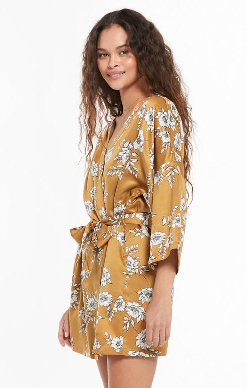 Z SUPPLY VACAY FLORAL SATIN ROBE