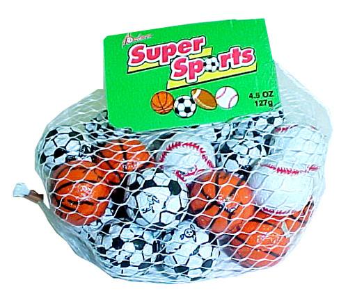 Assorted Chocolate Sports Balls  4.5oz bag