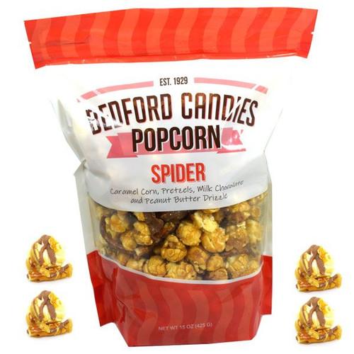 Bedford Candies Chocolate Pretzel Spider Popcorn 15oz