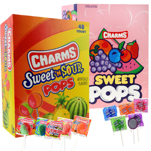 Charms Sweet & Sour or Charms Sweet Lollipops 48ct