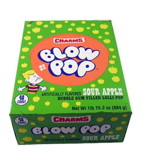Charms Blow Pops Sour Apple 48 Count