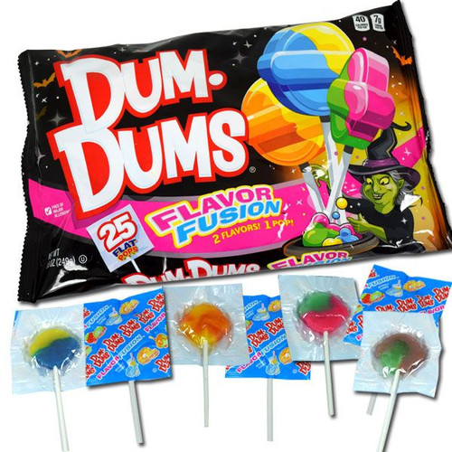Dum Dums Fusion Flat Lollipops 25 Count