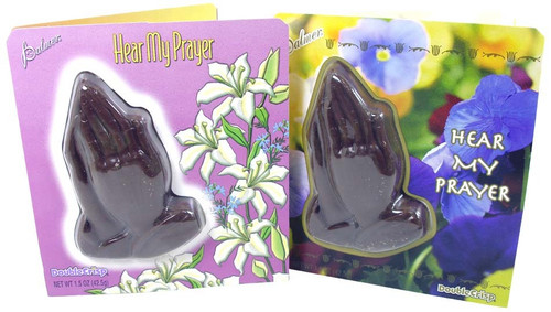Chocolate Praying  Hands with  Religious Easter Card Attached