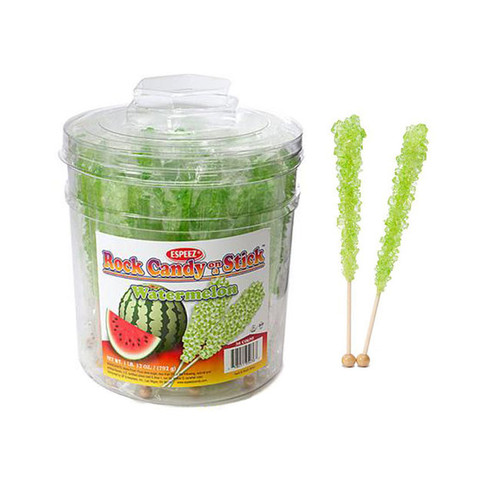 Lite Green Rock Candy Sticks Wrapped 36 Count