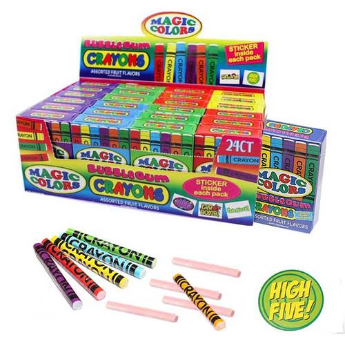 Magic Color Bubble Gum Crayons 24 Count