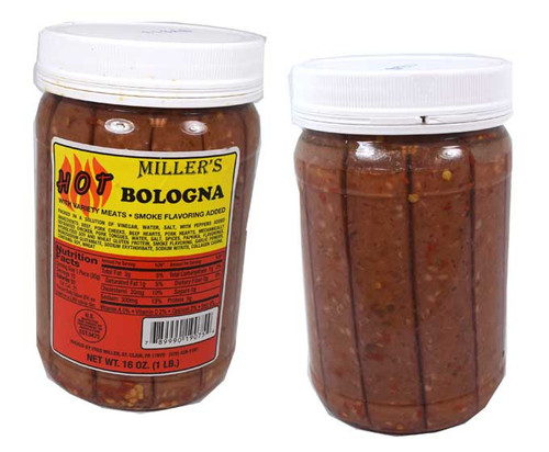 Miller's Hot Bologna 16oz Jar (15 Pieces)