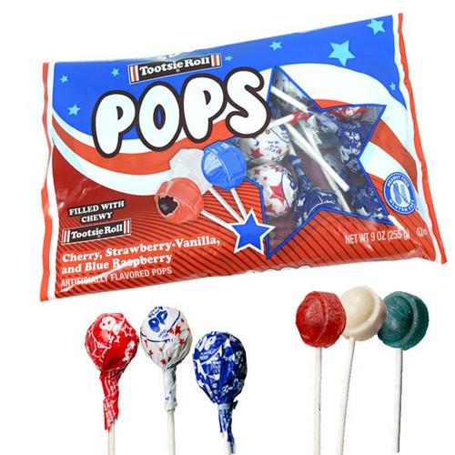 Patriotic Tootsie Pops  9oz Bag Red White & Blue