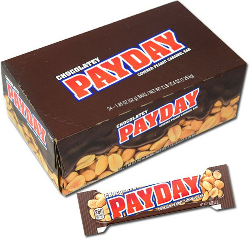 Chocolate Payday Candy Bars 24 Count