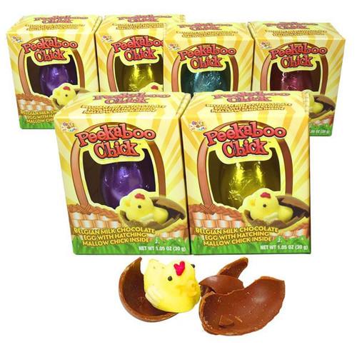 Peek A Boo Chocolate Chicks 6 Count