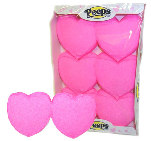 Peeps Marshmallow Pink Hearts 6 Count