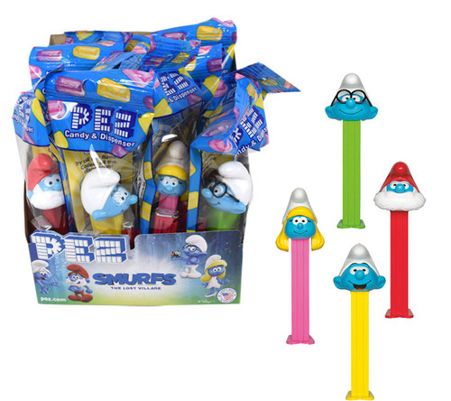 Pez Smurfs Dispenser & Candy 12 Count