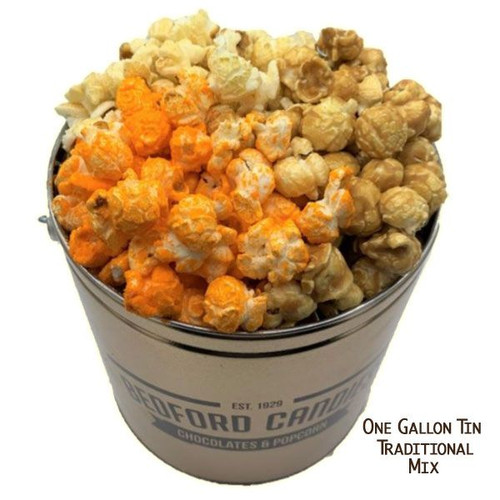 Bedford Candies Popcorn Tin Traditional 1 Gallon