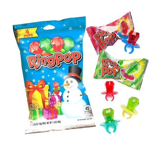 Christmas Ring Pops 4 Count Bag