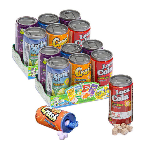 Soda Can Fizzy Candy 12 Count