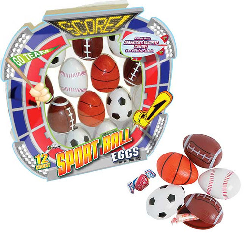 Sports Ball Eggs Filled with Candy 12 Count