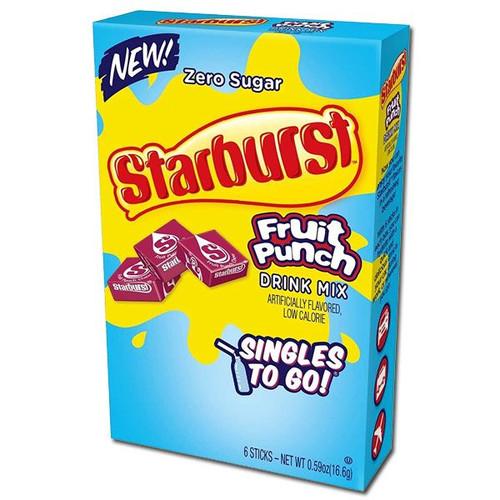 Starburst Singles To Go Zero Sugar Drink Mix Fruit Punch 6 CT