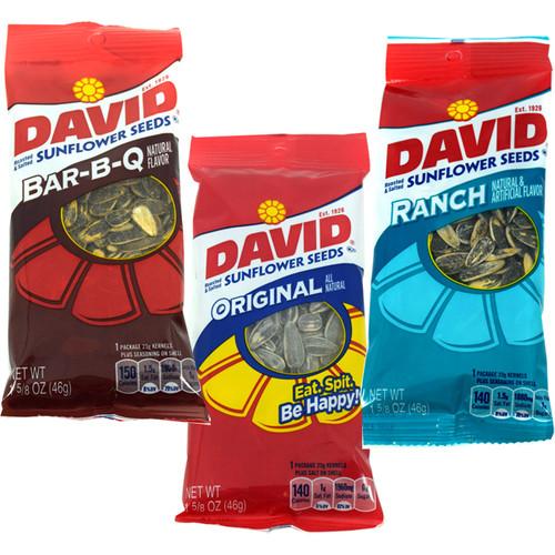 David Sunflower Seeds 12ct ; Regular; BBQ, or Ranch