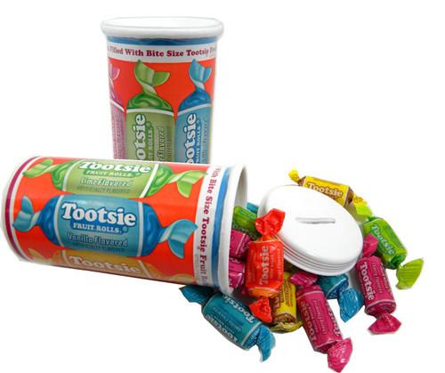 Tootsie Roll Bank With Tootsie Fruit Rolls