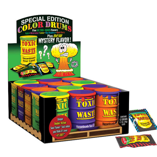 Toxic Waste Colored Drums Candy 12 Count