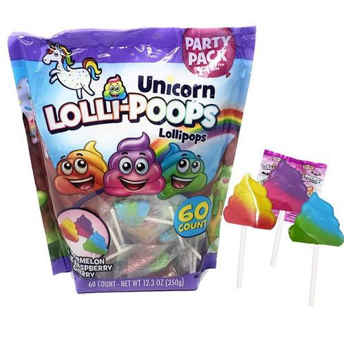 Unicorn Lolli-Poop Pops 60 Count