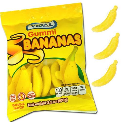 Vidal Gummi Bananas 3.5oz Bag
