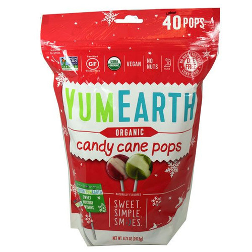"""YumEarth Organic Candy Cane """"Lollipops"""" 40 Count"""