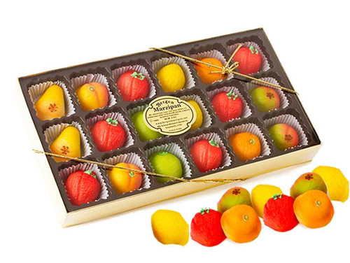 Bergen's Marzipan Fruit Candy 18 Count Large Box 8oz