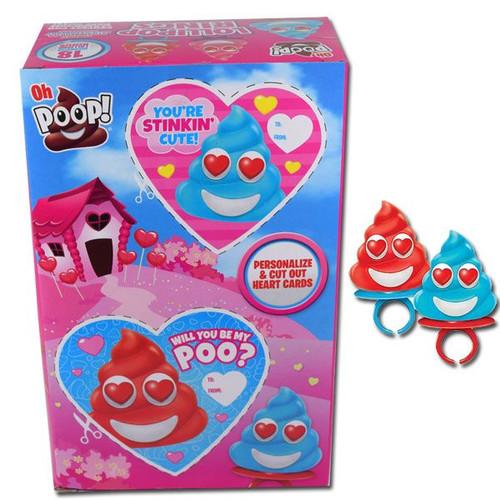 Oh Poop Valentine's Lollipop Rings 18 Count