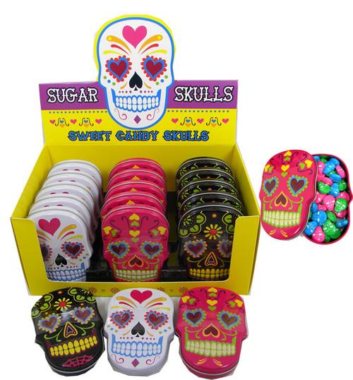 Sugar Skull Candy Skull Tins 18 Count