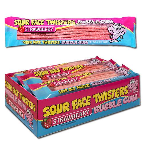 Sour Face Twister Bubble Gum Strawberry