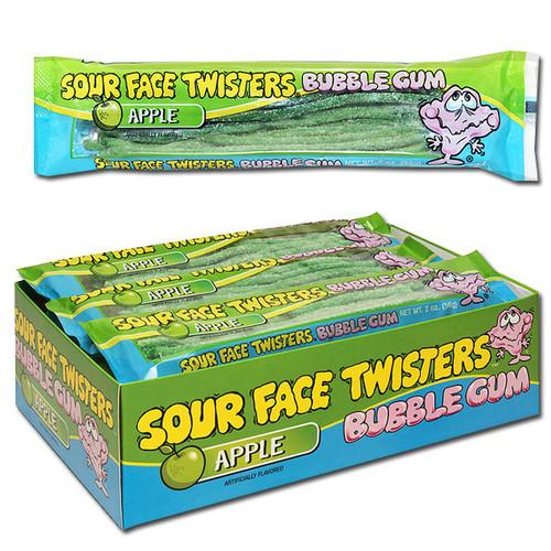 Sour Face Twisters Gum Apple 12 Count
