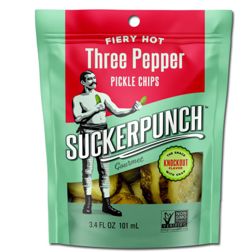 SuckerPunch Fiery Hot 3-Pepper Pickle Chips