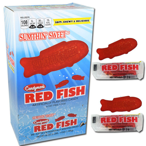 Sumthin Sweet Red Gummi Fish 240 Count