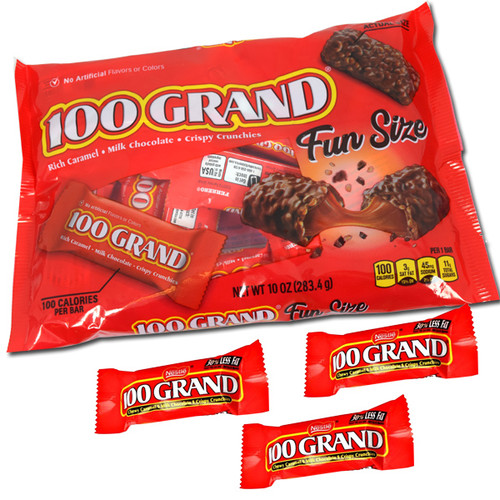 One Hundred Grand snack size candy bars