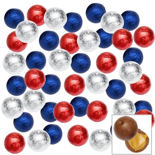 Caramel Chocolate Balls 2lb Bag Red, Blue, Silver