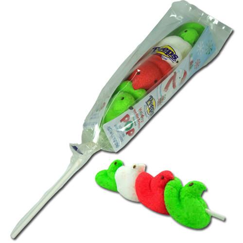 Peeps Christmas Rainbow Lollipops