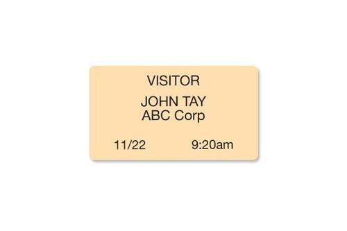 "04083 Thermal-printable Peach, Non-expiring Printable Adhesive Badge, 2.125"" X 3.8125"". Pkg Of 1,000"