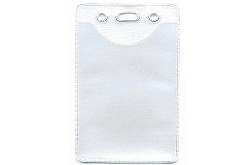 """1815-1101 Clear Vinyl Vertical Anti-Static Badge Holder with Slot and Chain Holes, 2.4"""" x 3.5"""" - Qty. 100"""