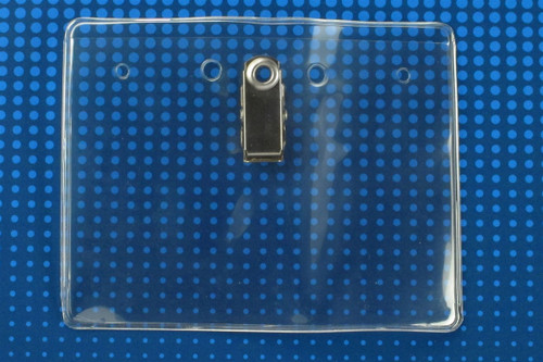 """304-JC Clear Vinyl Horizontal Badge Holder with Clip, 4"""" x 3"""" - Qty. 100"""