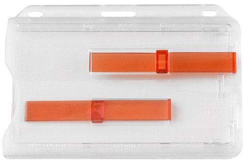 "1840-6400 Frosted Rigid Plastic Horizontal 2-Card Dispenser with Extractor Slides, 3.58"" x 2.46"" - Qty. 50"
