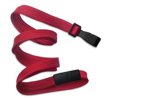 """3/8"""" (10 MM) Flat Braid Breakaway Woven Lanyard W/ Wide Plastic Hook - QTY. 100"""
