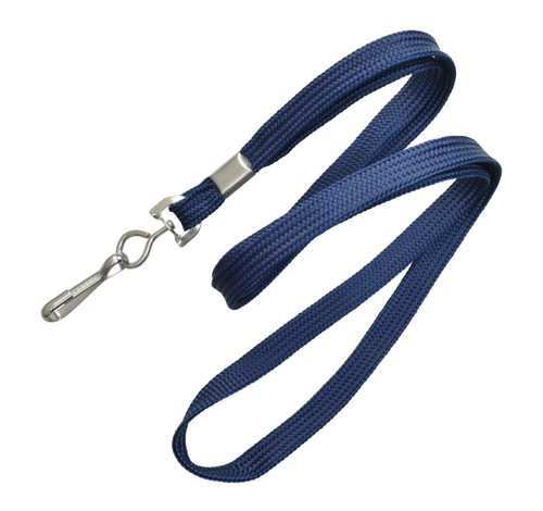 """2135-3503 3/8"""" (10 mm) Navy Blue Lanyard with Nickel-Plated Steel Swivel Hook - No Minimum QTY"""
