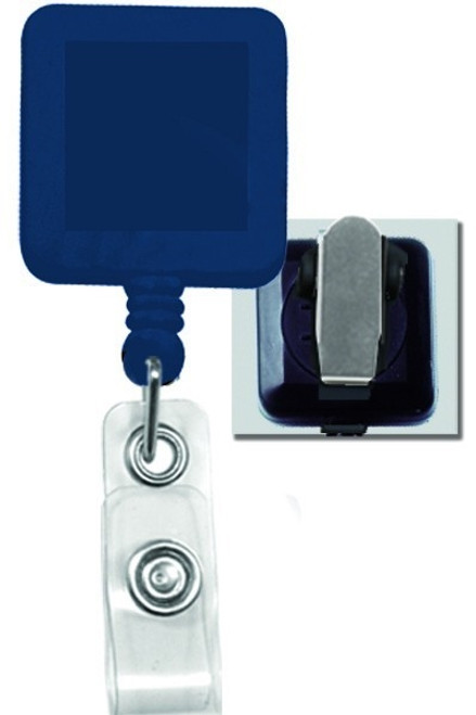 Square Badge Reel, W/ Clear Vinyl Strap & Spring Clip 2120-57XX - QTY. 25