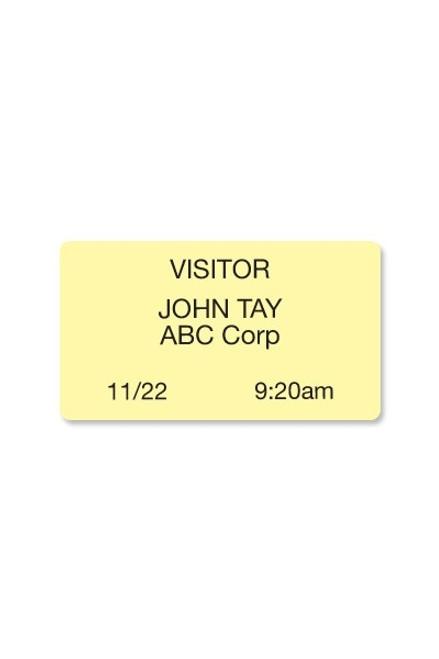 "04084 Thermal-printable Yellow, Non-expiring Printable Adhesive Badge, 2.125"" X 3.8125"". Pkg Of 1,000"